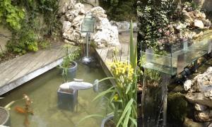 Fontaine en verre au dessus d'un bassin contenant des carpes Koï