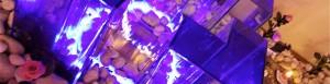 Fontaine en couleur avec bougies
