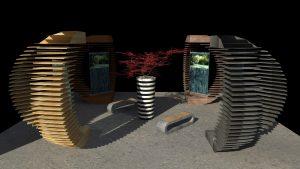 modélisation 3d d'espace zen